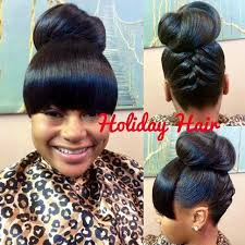weave updo hairstyles for african americans cute updo with bangs curls buns braids bobs knots and