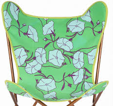 Folding Butterfly Chair Green Flower Kantha Cotton Butterfly Chair Covers