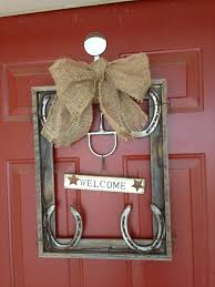 horseshoe decorations for home barn wood picture frame horse shoes barbed wire a snaffle bit