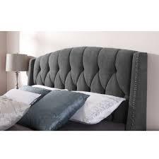 Tufted Wingback Headboard King Bed Furniture Bedroom Modern Grey Tufted King Size Headboard