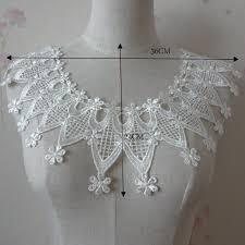 applique zig zag cd52 blanc nacré 36 x 24 cm col dentelle plastron fleur