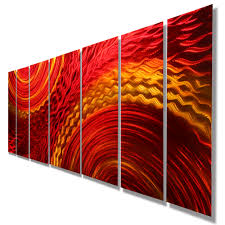 harvest moods xl contemporary red gold abstract metal hand harvest moods xl contemporary red gold abstract metal hand painted wall art by jon allen 96