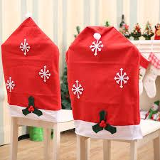 Christmas Chair Back Covers Santa Claus Snowflake Chair Cover Red Hat Christmas Chair Back