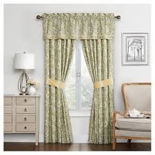 Waverly Curtain Panels Waverly Curtain Panel Pair Green Yellow Ivory Paisley Target