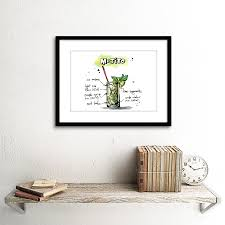 cocktail recipes poster food drink painting alcohol cocktail recipe mojito framed print