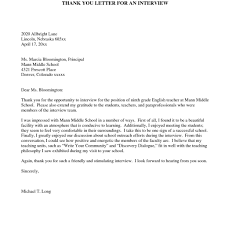 goodly teaching interview thank you letter u2013 letter format writing