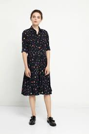 heart printed silk pleat navy shirt dress chinti and parker