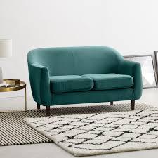 canapé droit 2 places petit canapé 2 place vert canard canapé droit pour un petit salon