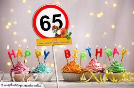geburtstagssprüche zum 65 65 geburtstag geburtstagswünsche mit schild und alter auf karte