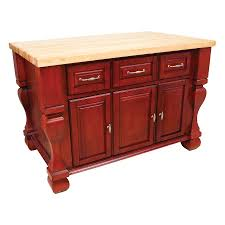 glittering kitchen butcher block island cart with cherry red paint