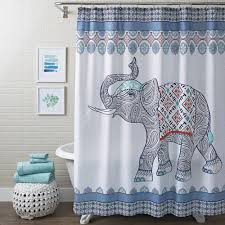 Curtains Bathroom Better Homes Gardens Bhg Global Elephant Blue Sc Walmart