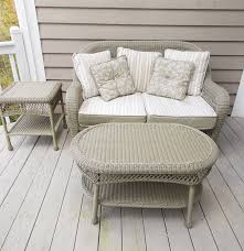 Martha Stewart Wicker Patio Furniture - martha stewart sage green wicker like porch settee coffee table