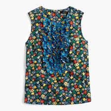 j crew womens collection ruffle front top in liberty edenham