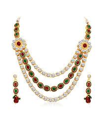 diamond necklace sets images Buy shostopper splendid gold plated australian diamond necklace jpg