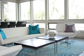 contemporary living room furniture in an air filled glass windows