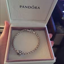 pandora silver leather bracelet images Pandora jewelry new in box leather bracelet and charm poshmark jpg