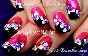 pink and black flower nail art design tutorial diy easy youtube