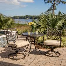 High Back Swivel Rocker Patio Chairs Hanover Traditions 3 Piece Outdoor Bistro Set With Cushioned