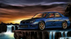 subaru wrx wallpaper paintings cars waterfalls subaru impreza wrx wallpaper 15884