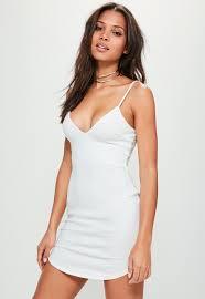 plunge dress white strappy plunge bodycon dress missguided