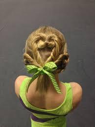 st patricks day gymnastics hair clover gymnastics hairstyle