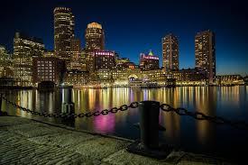11 fan pier boulevard boston skyline as seen from fan pier park in boston ma editorial