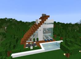 minecrft simple easy to build modern small house estate villa