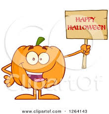 clipart of a happy pumpkin character holding a happy halloween