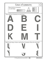 3rd grade 4th grade math worksheets lines of symmetry letters