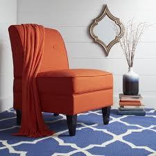 highland shoshone orange linen armless chair free shipping on