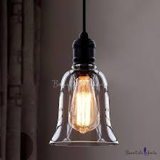 single light mini pendant with clear bell glass shade