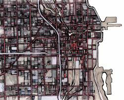Chicago Map Wall Art by Chicago Modern Art Print Abstract City Map For Sale