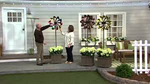 wind spinners with led lights plow hearth 6 ft wind spinner with solar led lights on qvc youtube