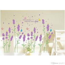 diy purple lavender flower wall stickers removable romantic home