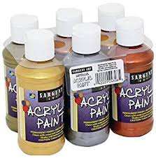 amazon com sargent art metallic acrylic paint set 6 pack