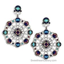 Aegean Chandelier Earrings Turquoise Blue Artistic Earrings Artisan Crafted Earrings Designer Earrings