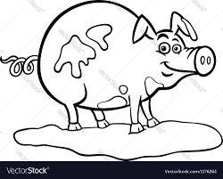 farm animal coloring book farm pig cartoon for coloring book royalty free vector image