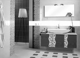 black bathroom floor decoration with cabinets application