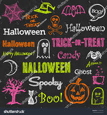halloween hand drawn text lettering graphics stock vector