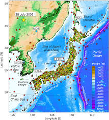 Sea Of Japan Map Distribution Of Seismic Stations And Earthquake Epicenters