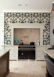 travertine backsplash tile kitchen traditional with fluer de lis