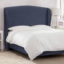 waveland upholstered king bed in navy