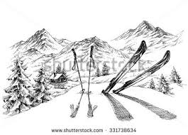mountains sketch mountains ranges hand drawing stock vector