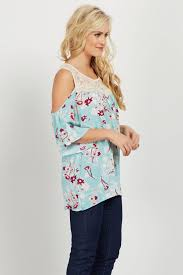 cold shoulder tops mint floral crochet cold shoulder top