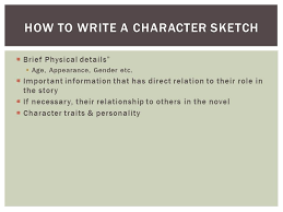 how to write a character sketch template scm resume format