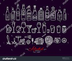 pink martini drawing set alcohol icons flat style drawing stock vector 559903561