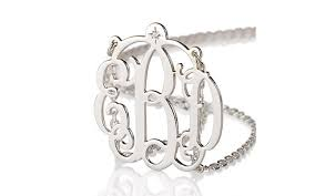 Monogram Necklace Silver Sterling Silver Monogram Necklace With Diamond