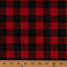 Red Plaid Upholstery Fabric Cotton Carolina Gingham Buffalo Check Scarlet Red Black Cotton