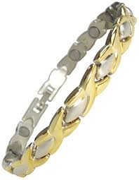 magnetic gold bracelet images Ladies magnetic therapy bracelets gold silver amazon co uk jpg