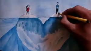how to draw watercolor painting of lover on iceberg heart easy but beautiful
